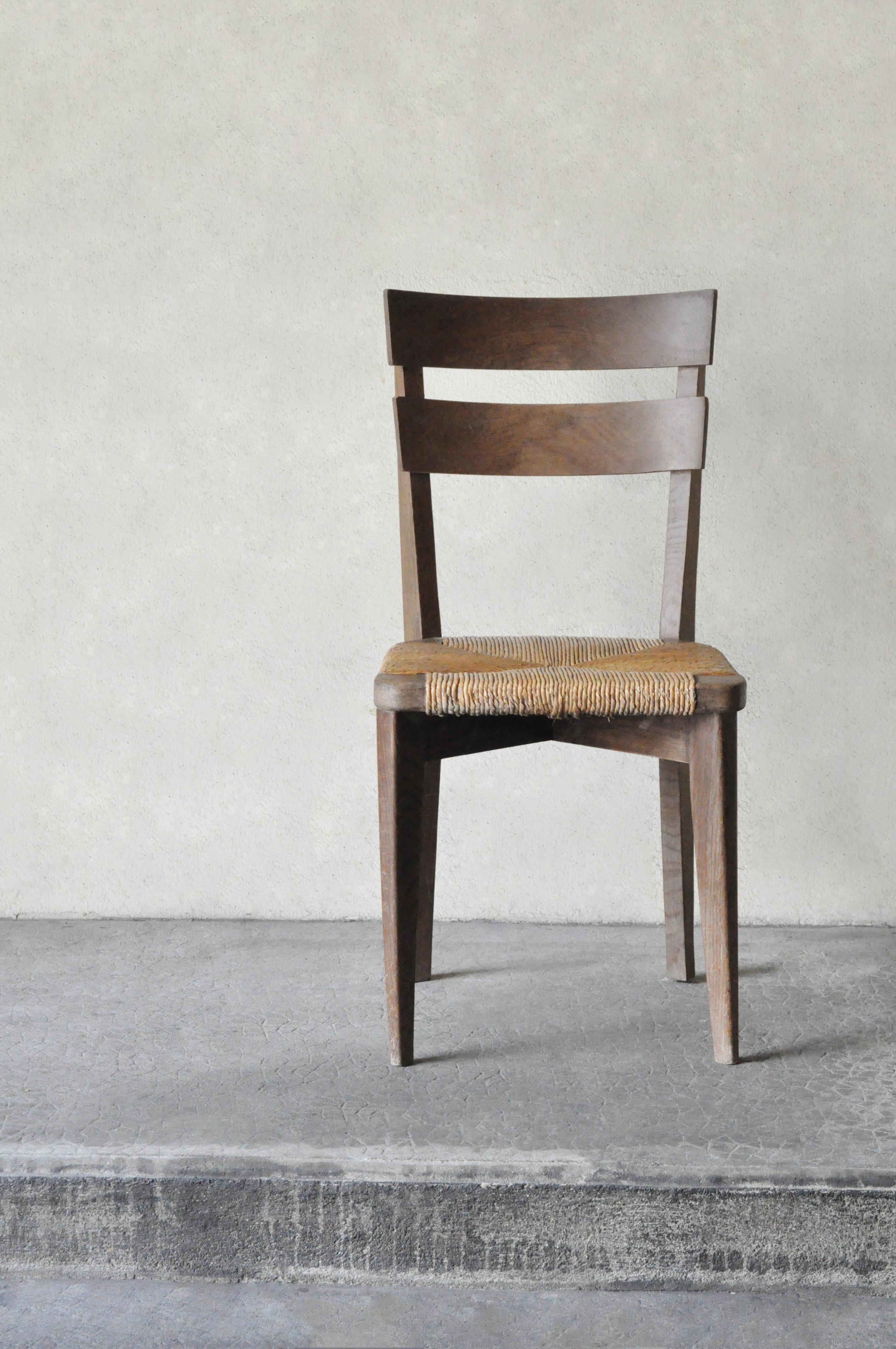 Chaise En Bois Et Paille 1940